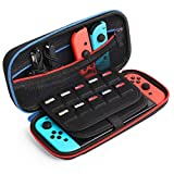 Kootek Travel Carrying Case for Nintendo Switch, 20 Games Cartridges & Zipper Mesh Pocket Protective Hard Shell Carry Cases for Nintendo Switch Console & Accessories, Black