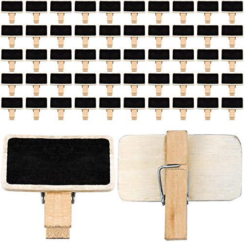 50 PCS Mini Clips de Pizarra Etiqueta de Pizarra de Madera Rectangular para Decoración Nombre Mensajes Pinza Clip