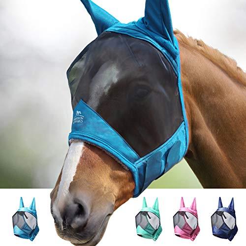 Harrison Howard CareMaster Pro Luminous Máscara de mosca de caballo Estándar con orejas Protección UV para caballo-Verde azulado (L)