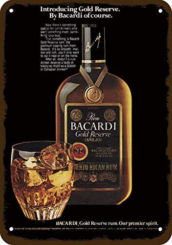 1981 Bacardi Gold Reserve Rum Vintage Look Replica Metal Sign 7