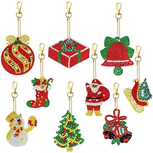 JOELELI 8 Pieces Christmas DIY Diamond Key Chain for Kid, 5D DIY Diamond Painting Key Chain Pendant Christmas Rhinestone Arts Crafts