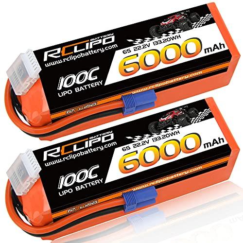 22.2V Lipo Battery 6000mAh 100C 6S Lipos Soft Case with EC5 Plug for Arrma Mojave/Krajave EXB/1/8 Scale/Felony/Typhon/ARRMA Typhon 6S V5/Avanti Jet/RC Car/Truck/Helicopter/UAV Drone/RC Models(2PCS)