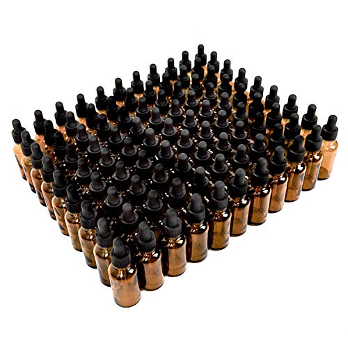 YoleShy 1oz Glass Dropper Bottle,99 Pack Amber Glass Bottles with Glass Droppers and Black Cap for Essential Oils, Lab Chemicals, Perfumes