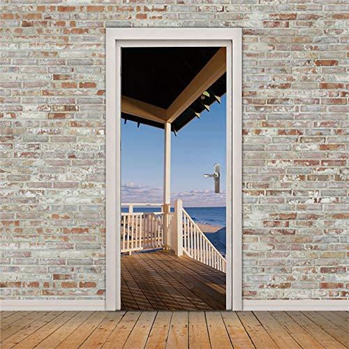 ZHAMTTI 3D Puerta Mural Papel Pintado Gazebo Blue Sky con Vistas al mar para Sala de Estar Dormitorio niños niños extraíble Vinilo Wall Decal Art Home Decoración 77x200cm