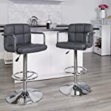 Flash Furniture 2 Pk. Contemporary Gray Quilted Vinyl Adjustable Height Barstool with Arms and Chrome Base