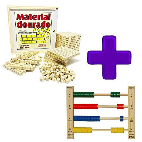 Kit Material Dourado 611 Peças + Ábaco Para Matemática