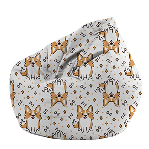 DTLEO Kids Stuffed Animal Storage Bean Bag Chair Cover Bean Bag Cover for Organizing Kid's Room - Fits a Lot of Stuffed Animals (No Fillers),M