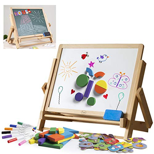 Wood Double-Sided Tabletop Easel 80pc Activity Set for Kids- Childrens Magnetic Dry Erase Whiteboard & Chalkboard, Alphabet Phonic Letters& Shapes - Homeschool and Art STEM Play Center