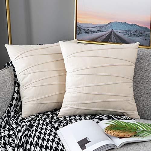 UPOPO Juego de 2 fundas de cojín de terciopelo, decorativas de un solo color, a rayas, para sofá, dormitorio, salón, con cremalleras, 55 x 55 cm, color beige