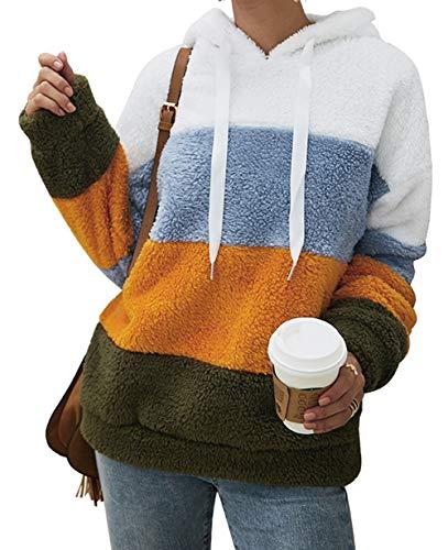 MIRRAY Damen Knopf Mantel Flaumige Endst/ück Oberseiten mit Kapuze Pullover Verlieren Strickjacke