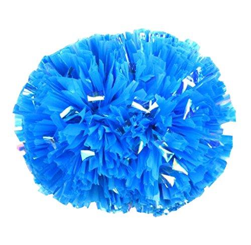 Black Temptation 2PCS Feuille métallisée et Baton poignée Poms Cheer Leading Poms, Bleu - 15.7\