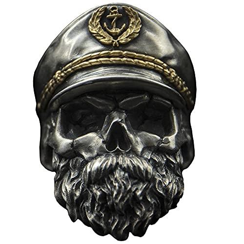 2pcs Schädel Ring männlichen Bart Militärischen Ring Kapitän Offizier Ring Weltkrieg Ii Memorial Untote Legion Doppel Adler Hut Retro 开口可调节 Old Captain Gold