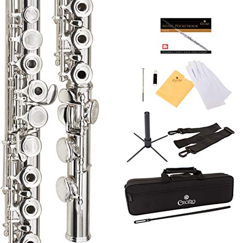 Cecilio High Grade Student C Flute Package in Silver Nickel Plated...