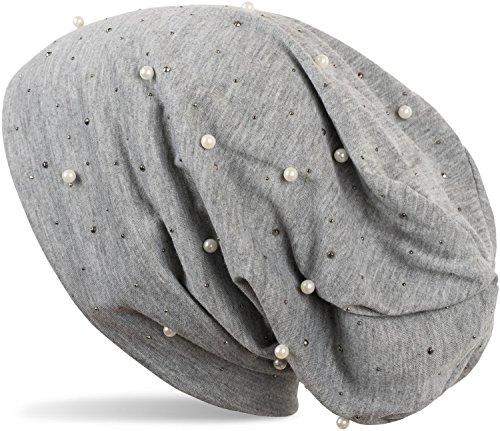 styleBREAKER Beanie Mütze mit Perlen und Strass Nieten, Slouch Longbeanie, Damen 04024140, Farbe:Grau meliert