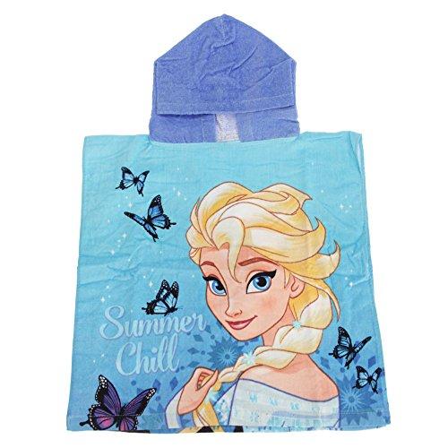 Disney Frozen Kinder Poncho-Handtuch mit Elsa und Anna (Einheitsgröße) (Blau)