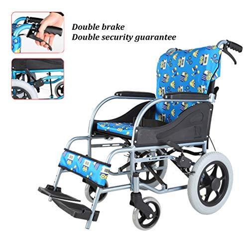 Xink-Wheelchairs Sedia a rotelle Pieghevole, Cintura Sedia a rotelle for Gli Anziani, poggiapiedi e Doppio Freno, può sopportare 100kg Seduto Width36cm Blu