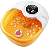 Foot Bath Spa Massager with Heat, Massage, bubbles and vibration, 14 Massage Rollers, Pedicure Foot Soak with Removable Pumice Stone, Adjustable Temp & Timing, Multi-Modes Water Foot Massager Spa