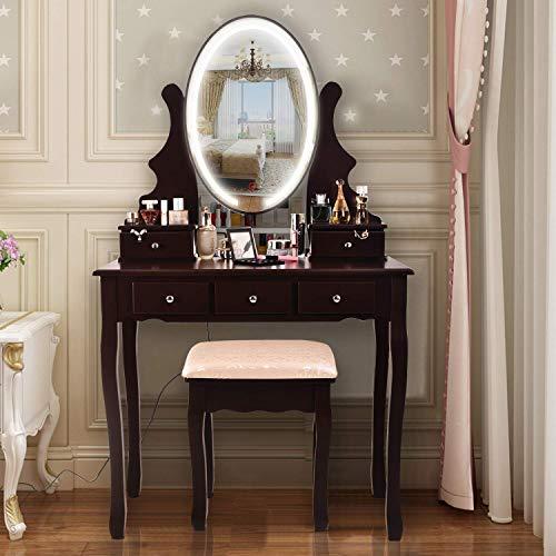 AOOU Vanity Table Set mit 3-farbigem Touchscreen-Dimmer, rundem Spiegel, Schminktisch mit 5 Schiebeschubladen und Touchscreen-Lichtsteuerspiegel für Schlafzimmer, braun