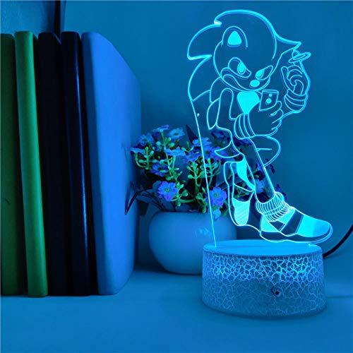 Lámpara de ilusión 3D Luz de noche LED Juego de control inteligente Sonic The Hedgehog Cambio de color Control remoto táctil Decoración de la casa Acrílico para niños Niños Niñas