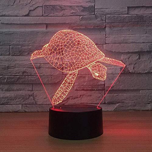 7 variaciones de color de luz nocturna en forma de tortuga USB 3D visión creativa LED animal tortuga lámpara de mesa bebé sueño iluminación regalo