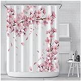 Kirschblüte Pfirsichblüten Duschvorhang Hintergr& Mädchen Badezimmer Wasserdicht Polyester Tuch Display Mit Haken 180 X 180 cm (71X71 Zoll)