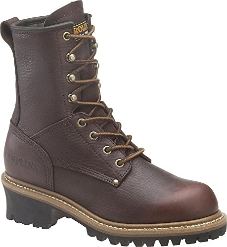 "Women's Carolina? 8"" Logger Boots, Dark Brown, 8.5 [Apparel]"