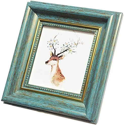 4x4 Photo Frame Blue Picture Frame Desktop Display Mount on The Wall Plexiglass Panel not Glass product image