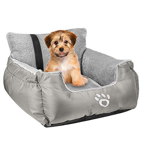 Dog Car Bed,Puppy Booster Seat Dog Travel Car Carrier Bed with Storage Pocket and Clip-on Safety Leash Removable Washable Cover for Small Dog(Silver Gray)