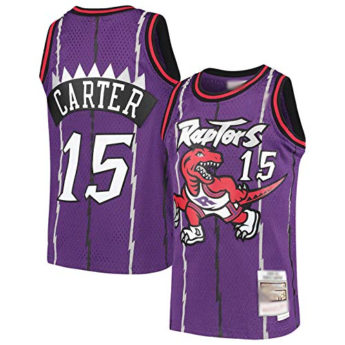 Camisetas de baloncesto para hombre, sin mangas, camisetas bordadas de malla de baloncesto # 15, color morado