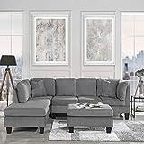 Casa AndreaMilano Modern 3-Piece Sofa Set-Ottoman Included, Grey Fabric