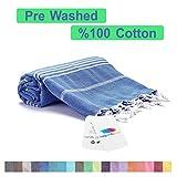 realgrandbazaar Pestemal Turkish Towel%100 Cotton - Pre Washed, More Softly 39 x 69 Peshtemal, Beach, Bath, Spa, Hammam, Super Soft Towels (Azure)