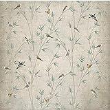 Papel pintado mural adhesivo de pared Grandes frescos personalizados Nostalgia europea ramas abstractas bambú flores y pájaros TV fondo de pantalla de pared