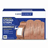 Care Science Strong Strips Adhesive Bandages, 1 inch Large, 60 Count - Super Tough Strength Antibacterial Heavy-Duty Bandages Helps Prevent Infection
