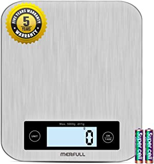 Digital Kitchen Scale, Food Scale, Tare Function and Stainless Larger Platform, Digital Weight Grams and Ounces, 11 lbs Capacity Accurate Food Weight Scale