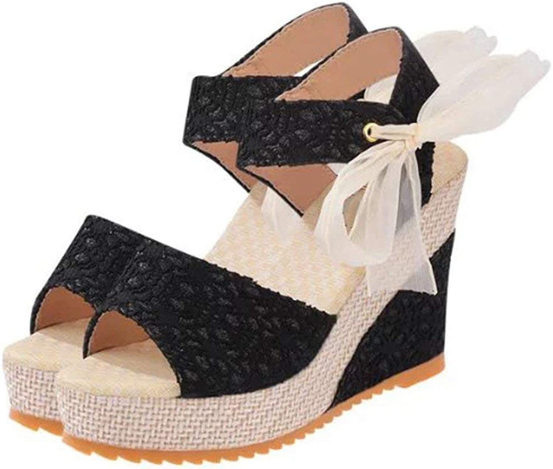 Isabelvictoria Spring Summer Women Sandals 2017 Summer Open Toe Fish Head Female Fashion Platform High Heels Wedge Sandals shoes - Black 37