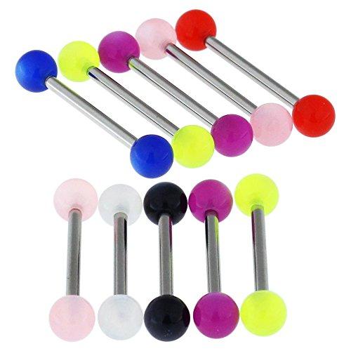 10 stuks verpakking fantasie kattenogen UV bal met 14 gauge 316 L chirurgisch staal Straight Barbell tong bar piercing