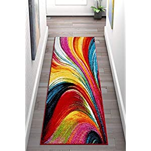Well Woven Aurora Multi Color Geometric Brush Stroke Area Rug 2×7 (2'3″ x 7'3″ Runner) Modern Abstract Contemporary Painting Art Swirl Stripe Lines Thick Soft Plush Living Dining Room Nursery