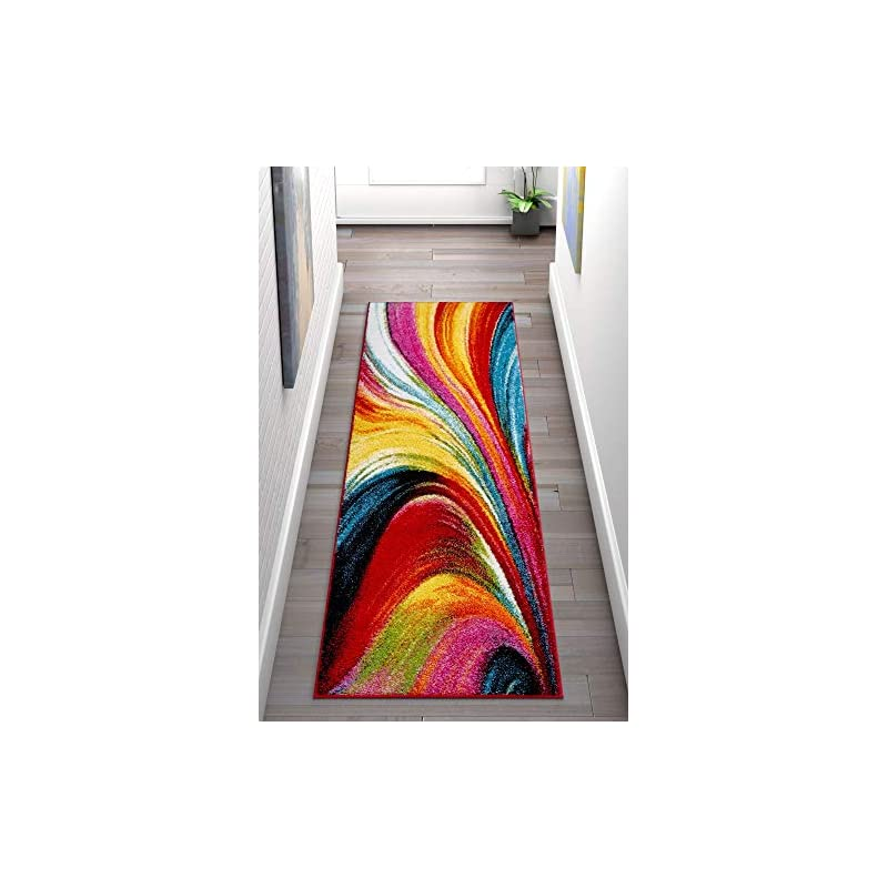 """silk flower arrangements well woven aurora multi color geometric brush stroke area rug 2x7 (2'3"""" x 7'3"""" runner) modern abstract contemporary painting art swirl stripe lines thick soft plush living dining room nursery"""