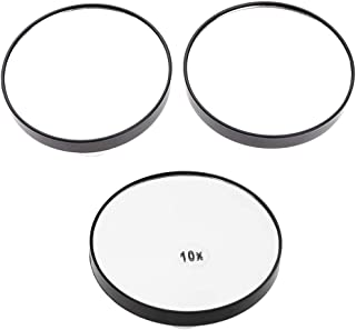 Blesiya 2pcs 5X +1pcs 10X Magnifying Mirror Bathroom Round Vanity Mirror with 2x Suction Cups for Precise Makeup, Tweezing Blackhead/Blemish Removal (3 Inch)