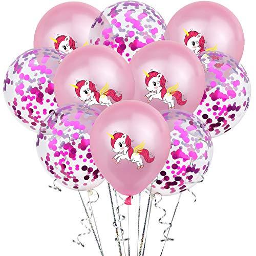 KAEHA S-IT-007-06 ballon van latex, 12 inch (2,8 g) kleur karamel bedrukt, eenhoorn 10 stuks voor decoratie party, roze