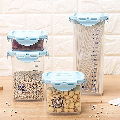 VONOTO Food Storage Containers 4Piece Set - Airtight Dry Food Container w/Innovative Dual Utility Interchangeable Lid,One Lid Fits All Containers, Freezer Safe, Space (Blue, 1800ML 1000ML 680ML 240ML)