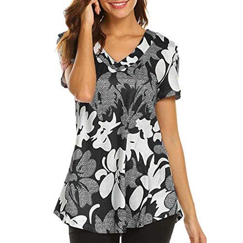 iHENGH Damen Top Bluse Lässig Mode T-Shirt Frühling Sommer Bequem Blusen Frauen Kurzarm Print Top Fashion T-Shirt Damen Tops Bluse(Schwarz, XL)