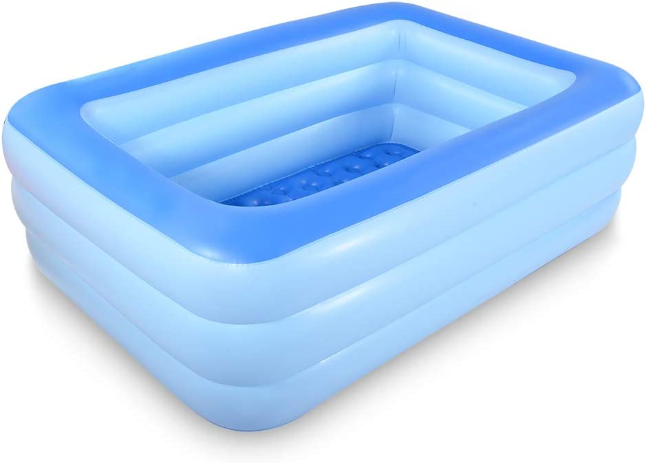 Marca Amazon – UMI Piscina Inflable Familiar para Nadar, Centro de Juego, Piscina de 208 cm, Piscina de Verano, diversión con Suelo Inflable Suave para la Familia, Patio Trasero (Azul)