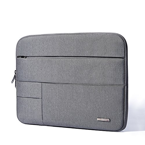 KALIDI Multi-Pockets Laptop Sleeve Bag Case Cover Briefcase with Zipper for 14 Inch Laptop Notebook Computer (Grey)