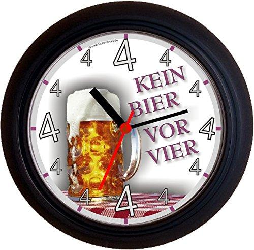 Lucky Clocks BIERUHREN KEIN Bier VOR Vier 4 Mass Maß Geburtstag Vatertag Wanduhren für jeden Anlass neutral