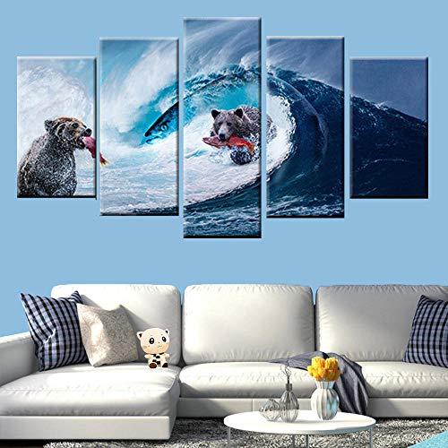 Zqylg Venta caliente arte de la pared pintura en lienzo 5 piezas impresión HD oso ola gigante captura de peces cartel pintura abstracta moderna decoración del hogar 40x60 40x80 40x100 sin marco