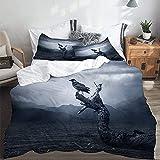 Ropa de cama infantil con diseño de cuervos negros en la luna, 135 x 200 cm, algodón, microfibra, 3D, con cremallera, 2 fundas de almohada de 80 x 80 cm, para niños y niñas
