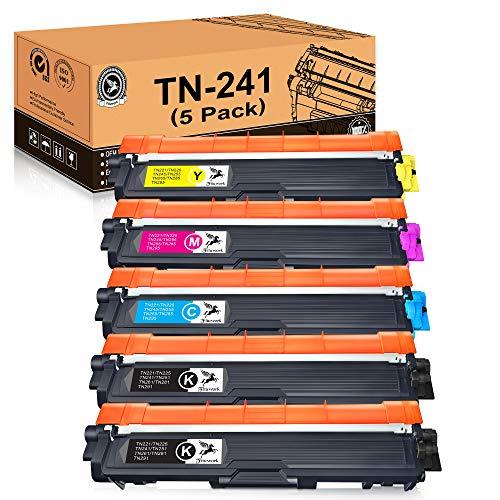 FITU WORK TN241 TN245 Sostituzione per Brother TN241 TN245 Toner Compatibile con Brother DCP-9020CDW DCP-9015CDW HL-3140CW HL-3150CDW HL-3170CDW MFC-9140CDN MFC-9330CDW MFC9340CDW-(5 Pacchi)