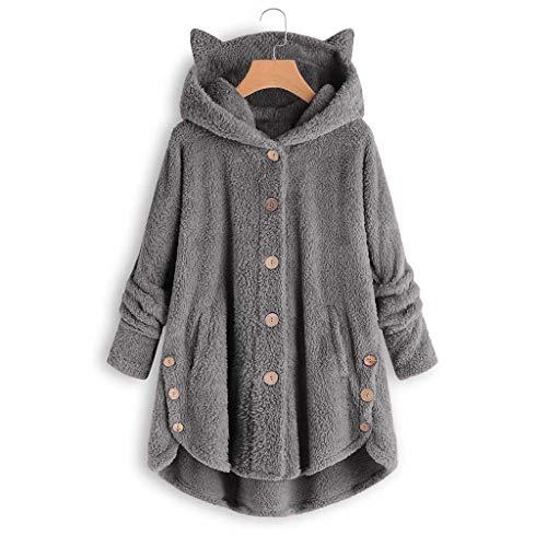 AmyGline Damen Wintermantel Warme Fleece Hoodie Jacke Katzenohren Kapuzenjacke Langarm Knopf Kapuzenpullover Sweatshirt Pullover mit Taschen Winterjacke