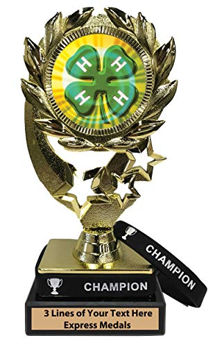 Express Medals 4H Trophy with Removable Wearable Champion Wrist Band Marble Base and Personalized Engraved Plate